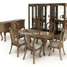 实木中式四人餐桌家具3d模型下载