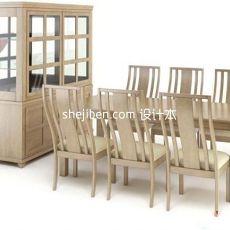 实木中式餐桌餐椅家具3d模型下载