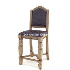 家居实木餐椅3d模型下载
