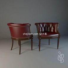 欧式单人沙发椅3d模型下载