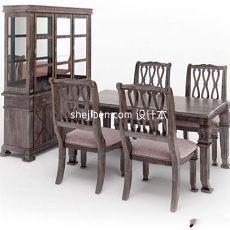 实木中式四人餐椅组合家具3d模型下载