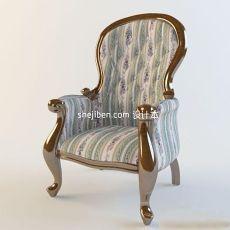 布艺单人沙发座椅3d模型下载