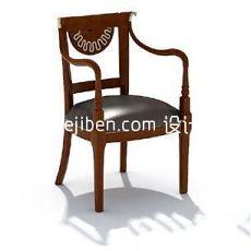 欧式真皮扶手座椅3d模型下载