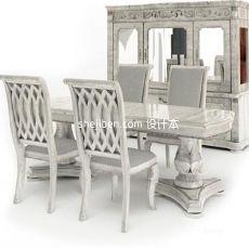 欧式四人餐桌餐椅组合3d模型下载