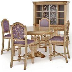 欧式4人餐桌3d模型下载