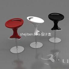 三种颜色吧椅3d模型下载