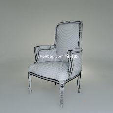 欧式家居单人沙发椅3d模型下载