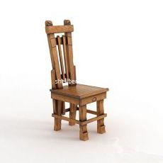实木高背单人椅3d模型下载