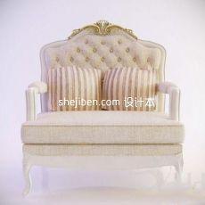 简欧两人沙发椅3d模型下载