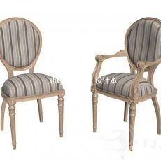 欧式布艺单人沙发座椅3d模型下载
