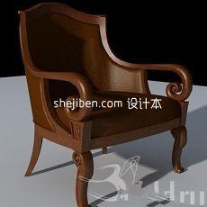 美式扶手单人沙发椅3d模型下载
