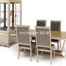 实木中式四人餐桌椅3d模型下载