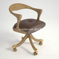 实木电脑椅3d模型下载