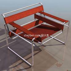不锈钢布艺休闲椅3d模型下载