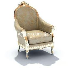 欧式布艺单人沙发椅3d模型下载