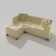 办公室L型多人沙发3d模型下载