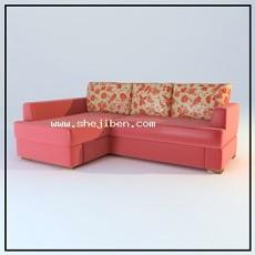 L型多人沙发3d模型下载