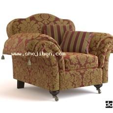 布艺单人沙发3d模型下载