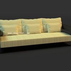 三人沙发3d模型下载