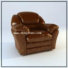 办公室单人皮沙发3d模型下载