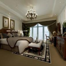 田园风格卧室3d模型下载