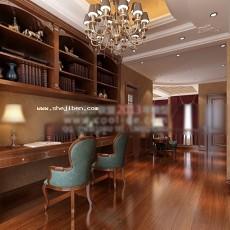 书房3d模型下载