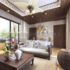 东南亚客厅3d模型下载