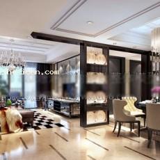 欧式豪华客餐厅3d模型下载