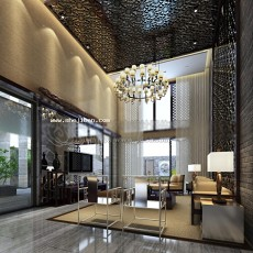 中式客厅木雕吊顶3d模型下载