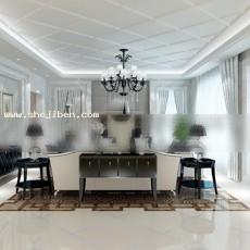 黑白家装客厅3d模型下载
