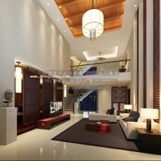 二层楼东南亚别墅客厅3d模型下载