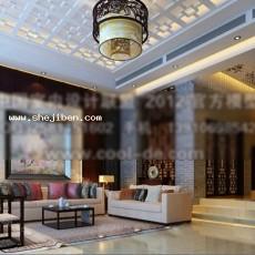 中式风格客厅3d模型下载