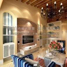 田园风格客厅3d模型下载