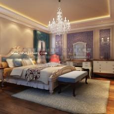 简欧卧室3d模型下载