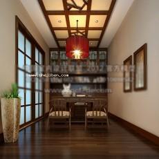 中式书房吊顶3d模型下载