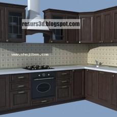 实木整体橱柜3d模型下载