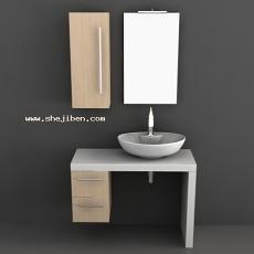 洗手台台盆3d模型下载