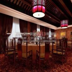 中式酒店包间3d模型下载