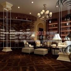 酒店吧台3d模型下载