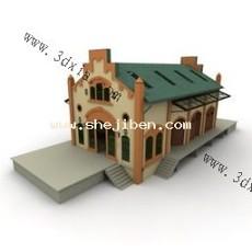 商业木屋3d模型下载