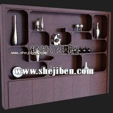 中式柜架3d模型下载