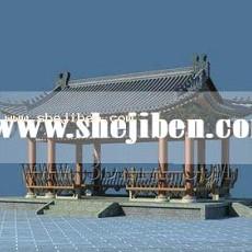 户外中式建筑3d模型下载