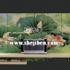 装饰墙电视柜3d模型下载