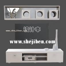 电视桌3d模型下载