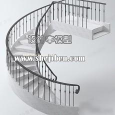 圆形楼梯3d模型下载