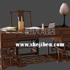 明清办公桌3d模型下载