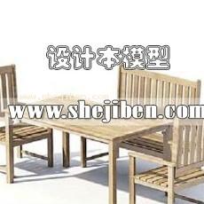 室外桌椅3d模型下载
