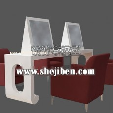 美发店桌椅3d模型下载