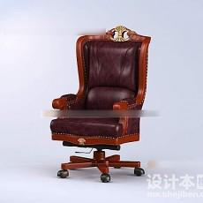 皮质老板椅3d模型下载