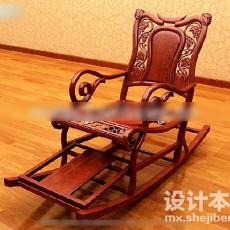 中式摇椅3d模型下载